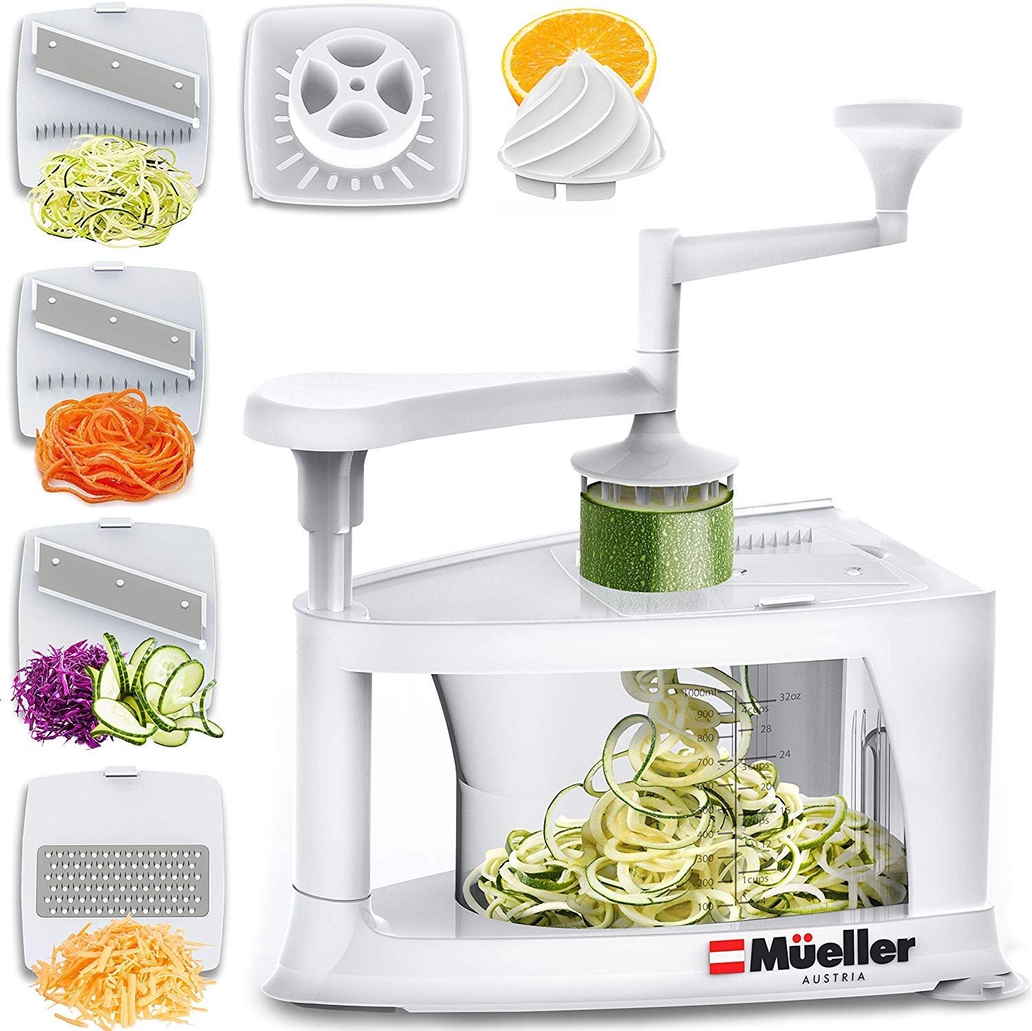 Mueller Spiral-Ultra Multi-Blade Spiralizer, 8 into 1 Spiral Slicer, Heavy Duty Salad Utensil, Vegetable Pasta Maker and Mandoline Slicer for Low Carb/Paleo/Gluten-Free Meals by Mueller Austria
