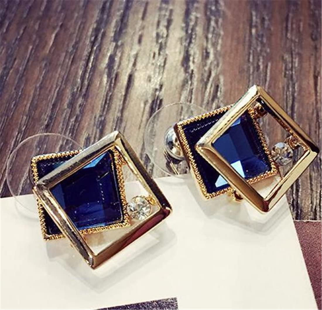 Tmrow 1pair Blue Sapphire Square Solitaire Stud Earrings