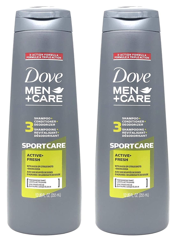 Dove Men+Care 2-in-1 Shampoo and Conditioner, Sportcare Active Fresh, 12 oz (Pack of 2)
