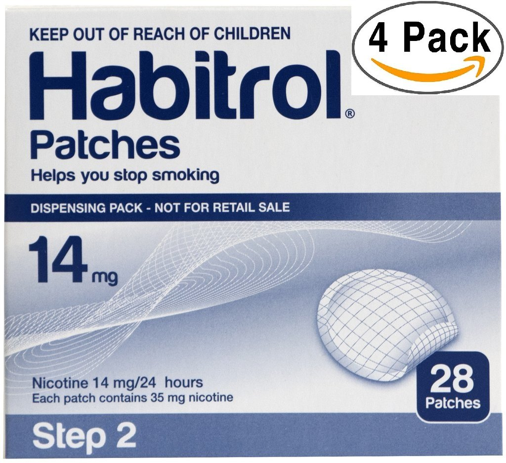 Novartis Habitrol 14mg Nicotine Patches, Step 2. Stop Smoking. 4 boxes of 28 each (112 patches) 14 MG