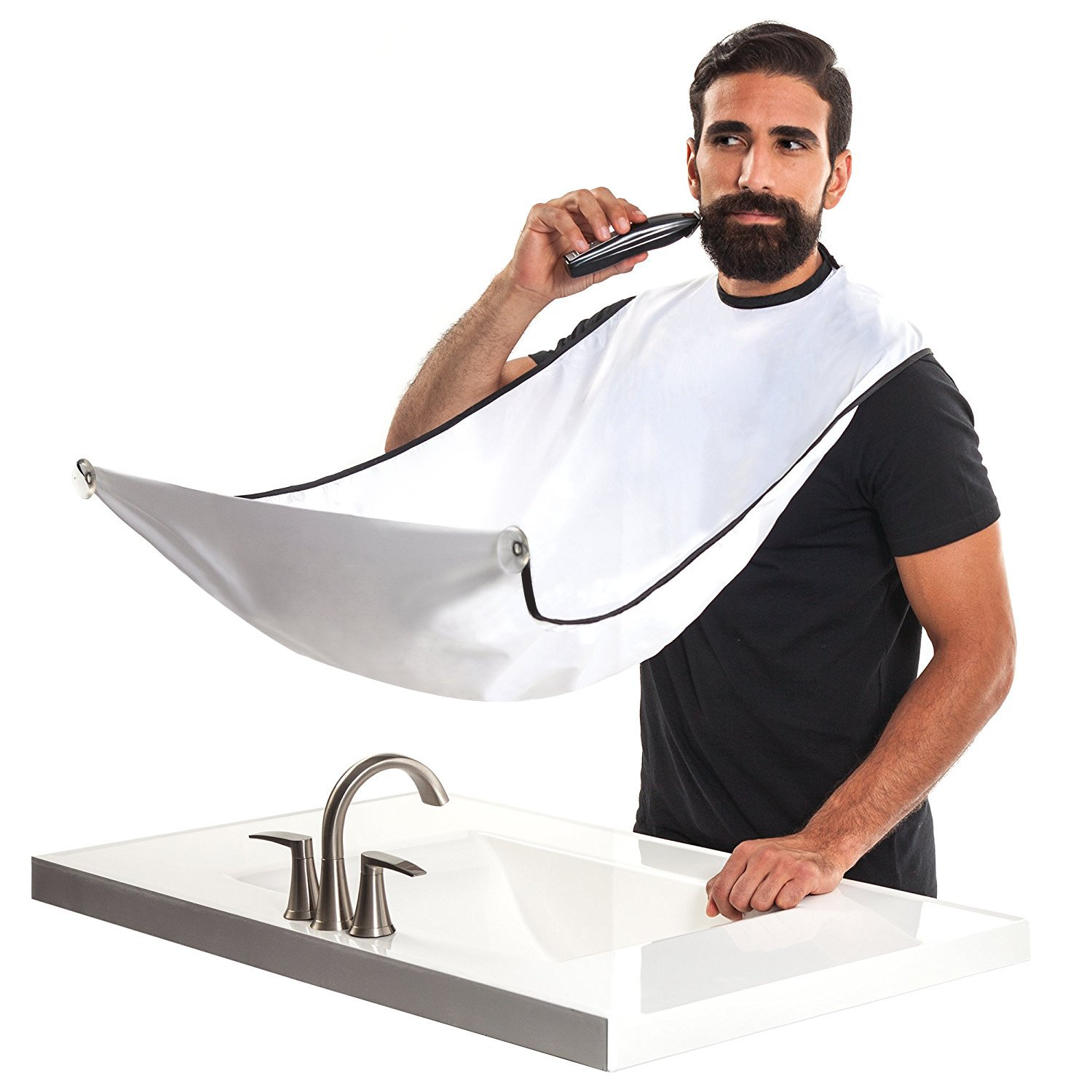 Elite99 Beard Apron, Beard Bib Catcher Hair Clippings Easy Clean for Beard Trimmings, Mustache and Hairs (White)