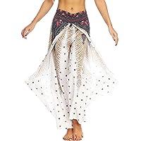 GUAVAZ Womens Slit Wide Leg Pants-Casual Hippie Bohemian Pilate Beach Boho Baggy Yoga Pants
