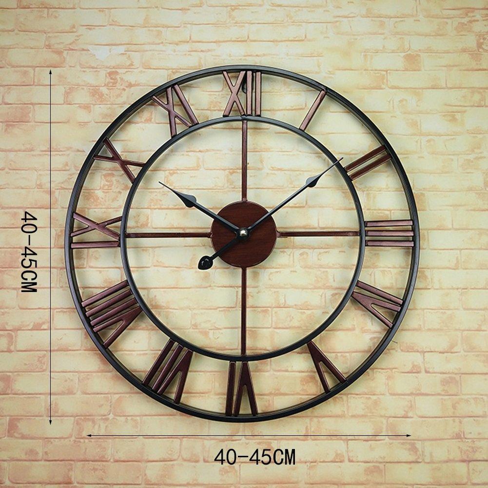 IAIZI ヨーロッパの壁時計、バーアートリビングルームの壁時計現代創造的なシンプルなレトロローマ円形のクロック直径40-45CM (色 : B, サイズ さいず : 40*40cm) B07D64NRF8 40*40cm|B B 40*40cm