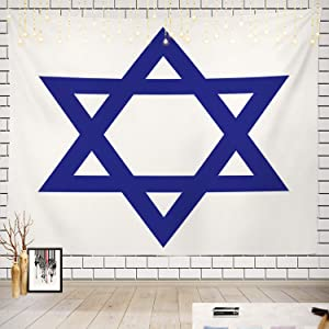 Batmerry Star Tapestry, Shields of David Picnic Mat Beach Towel Wall Art Decoration for Bedroom Living Room Dorm, 51.2 x 59.1 Inches, Blue White 2