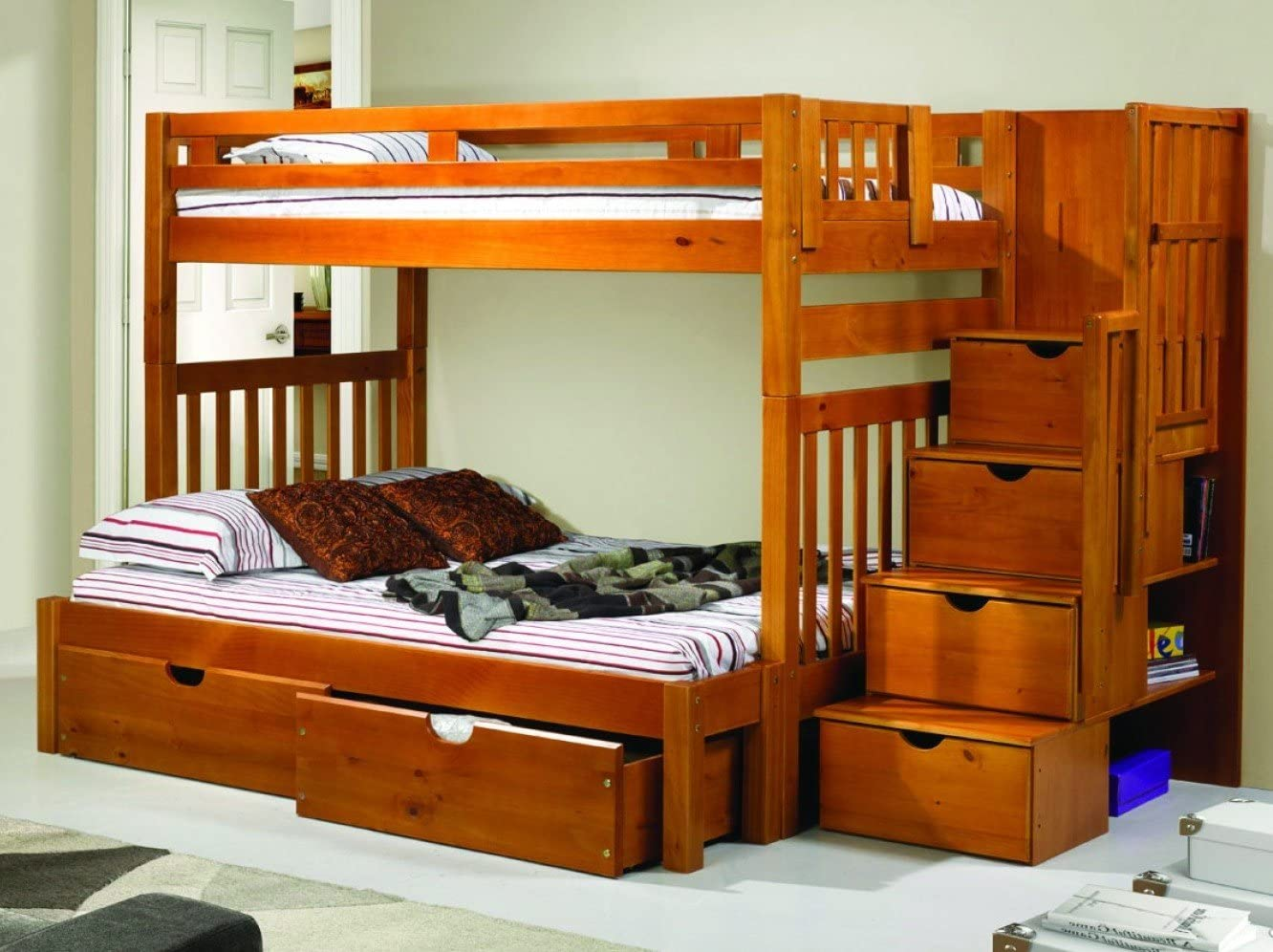 Amazon.com: Bunk Beds for Adults or Youth Twin/Full with Storage, Shelves & Free Storage Pockets: Furniture & Decor