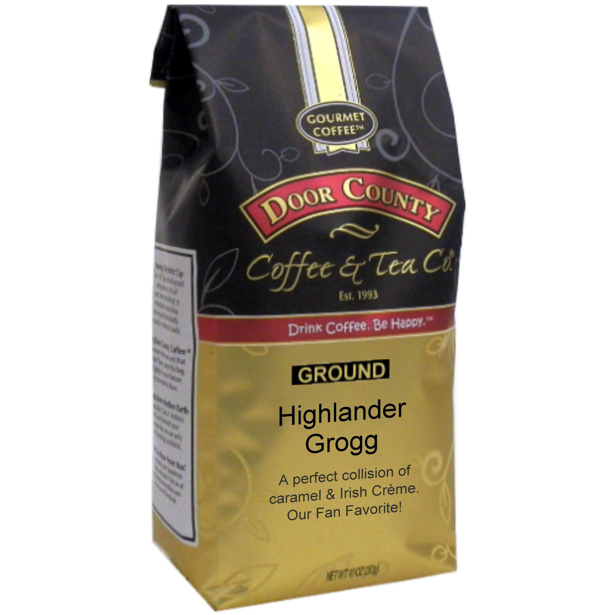 Door County Coffee, Highlander Grogg, Irish Creme and Caramel Flavored Coffee, Medium Roast, Ground Coffee, 10 oz Bag