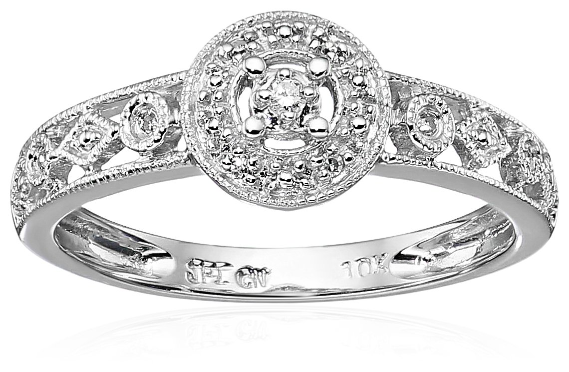 10k White Gold Circle Vintage Diamond Accent Promise Ring, Size 6