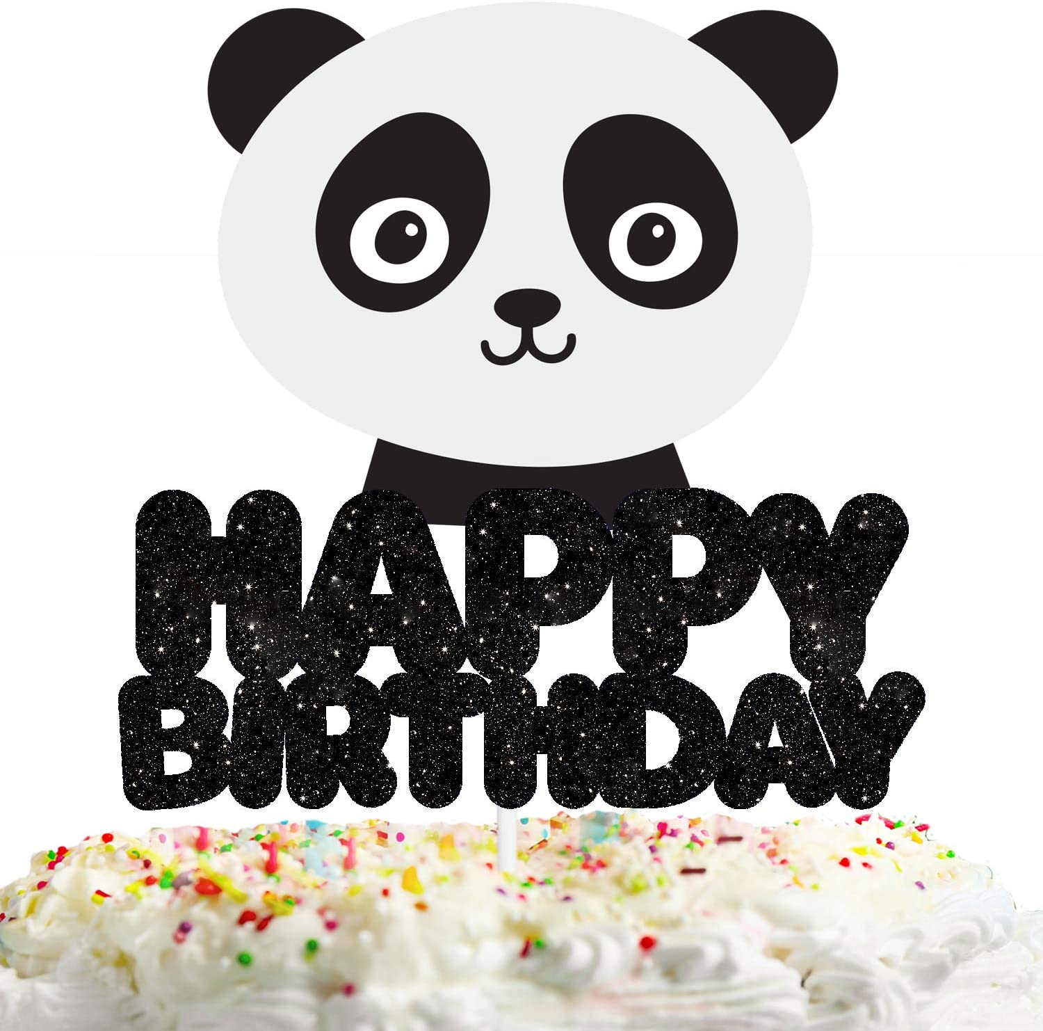 Panda Happy Birthday Cake Topper Decorations with Multicolored Animal for Birthday Theme Baby Shower Party Decor Supplies