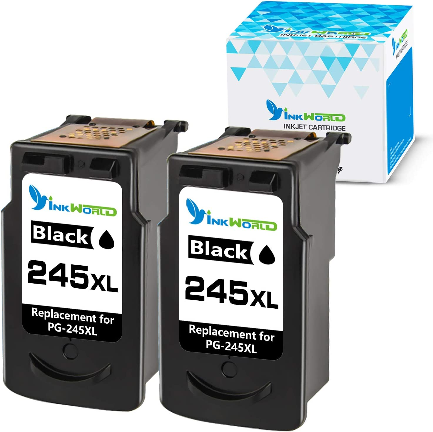 InkWorld Remanufactured Ink Cartridge Replacement for Canon PG-245XL 245 XL Use with Pixma MG3022 MG2522 TR4520 TR4522 MG2922 MG2920 TS202 MX492 MX490 iP2820 TS302 MG2520 MG2525 Printer (2 Black)