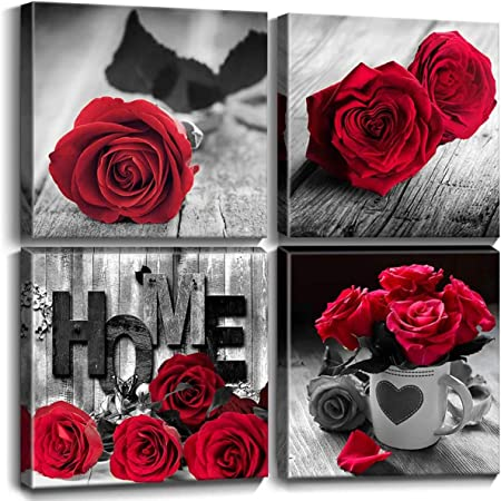 Amazon Com Red Bathroom Accessories Black And White Wall Bedroom Decor For Couple Framed Canvas Prints Rose Wall Art Pictures Flower Paintings 12x12 Inch Living Room Home Decorations Love Gift Kitchen 4 Pcs