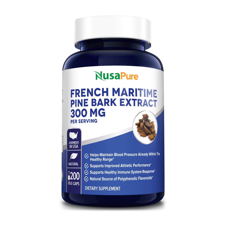French Maritime Pine Bark Extract 300mg 200 Veggie Capsules (Non-GMO & Gluten Free) Supports Heart Health, Circulatory Health, Skincare, 150mg per Caps