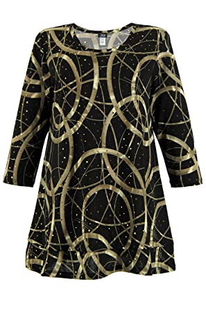 711df0345ec Jostar Women s Glitter Bottom Layered Top 3 4 Sleeve Glitter Plus at Amazon  Women s Clothing store