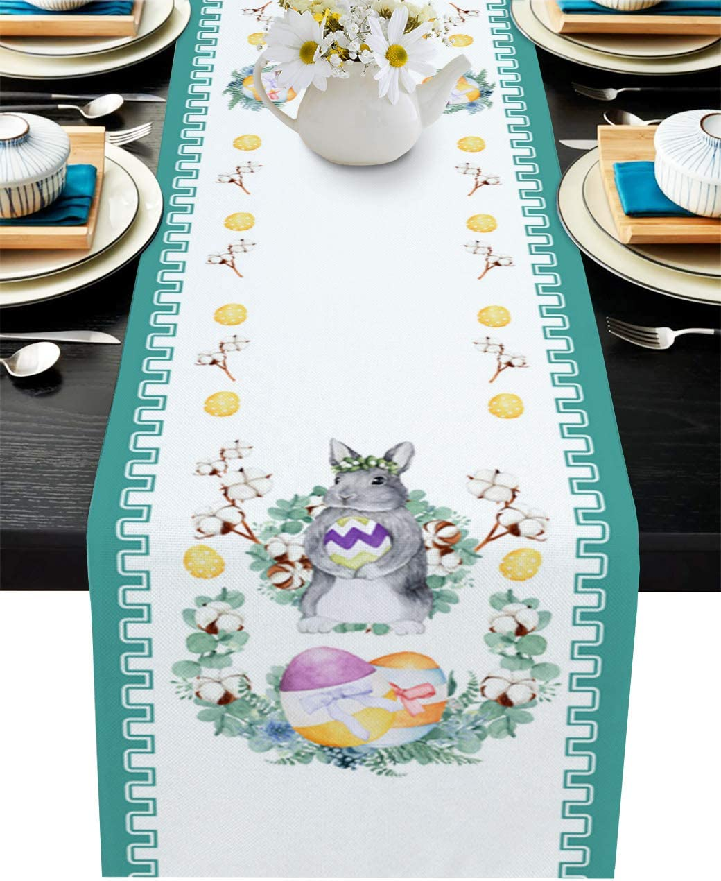 Table Runner 120 Inche for Dining Coffee Table, Easter Spring Watercolor Bunny Colorful Eggs Burlap Rectangle Table Cloth Decor Birthday Wedding Holiday Party, 13