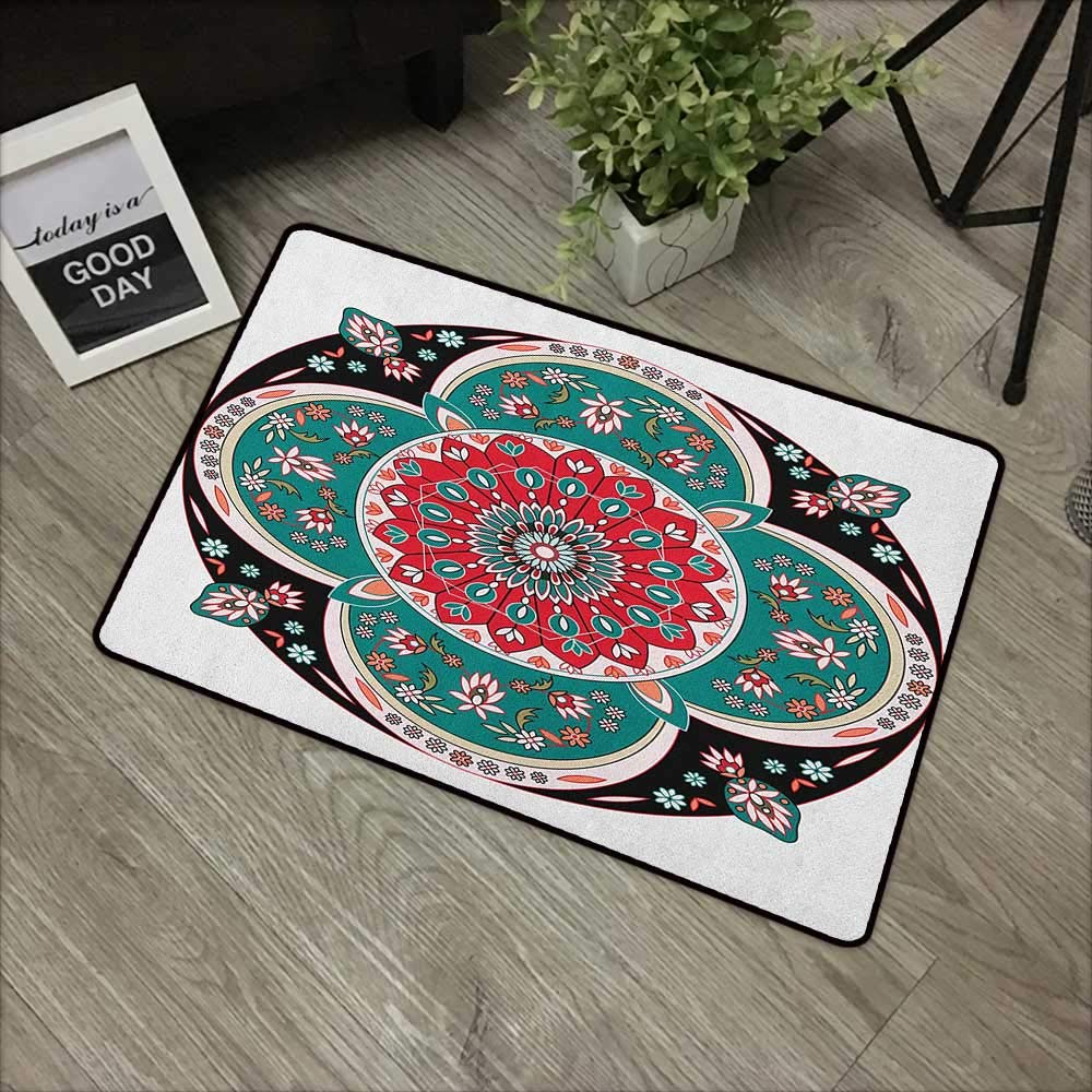 bathroom entry rugs Arabian,Oriental Ornate Embriodery Style Floral Ethnic Illustration of Old Eastern Artistic, Multicolor,Low Profile Door Mat - Welcome - Front Door, Garage, Patio,30''x39'' by Buck Haggai