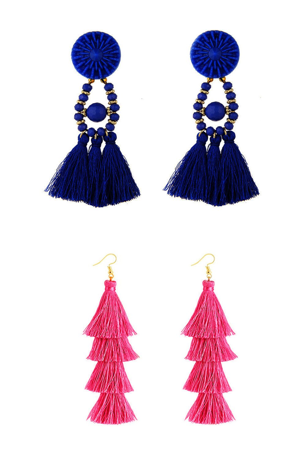 Q&S Jewels Fashion Handmade Bohemian Statement Chandelier Blue Tassel Stud Earrings and Royal Blue Tiered Thread Tassel Drop Dangle Earring 2 Pairs