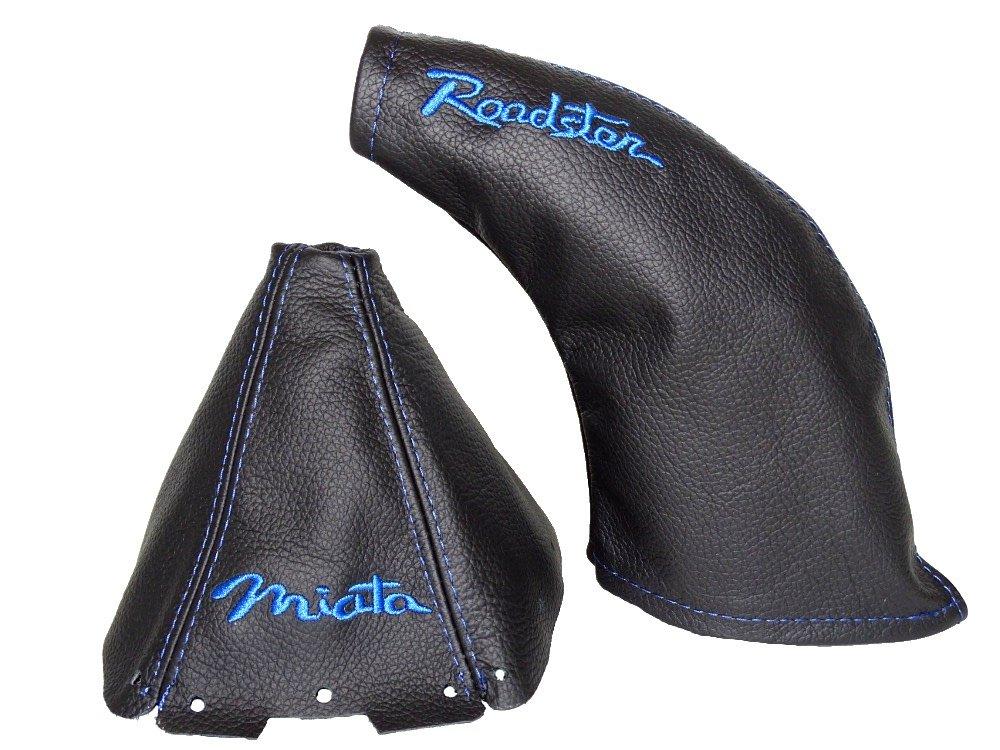 The Tuning-Shop Ltd for Mazda MX-5 MK2 1998-2005 Shift & E Brake Boot Black Genuine Leather Blue Miata & Roadster Embroidery