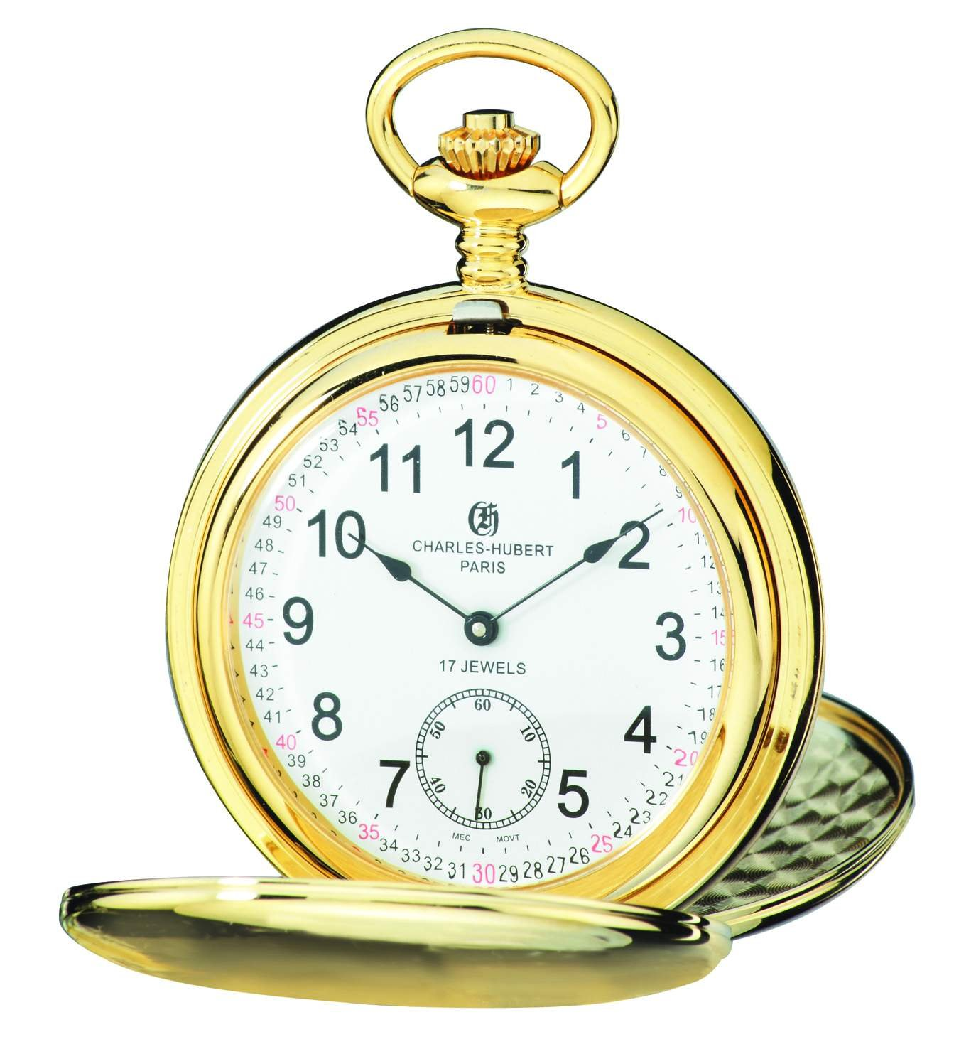 Charles-Hubert, Paris 3908-GRR Premium Collection Gold-Plated Stainless Steel Satin Finish Double Hunter Case Mechanical Pocket Watch