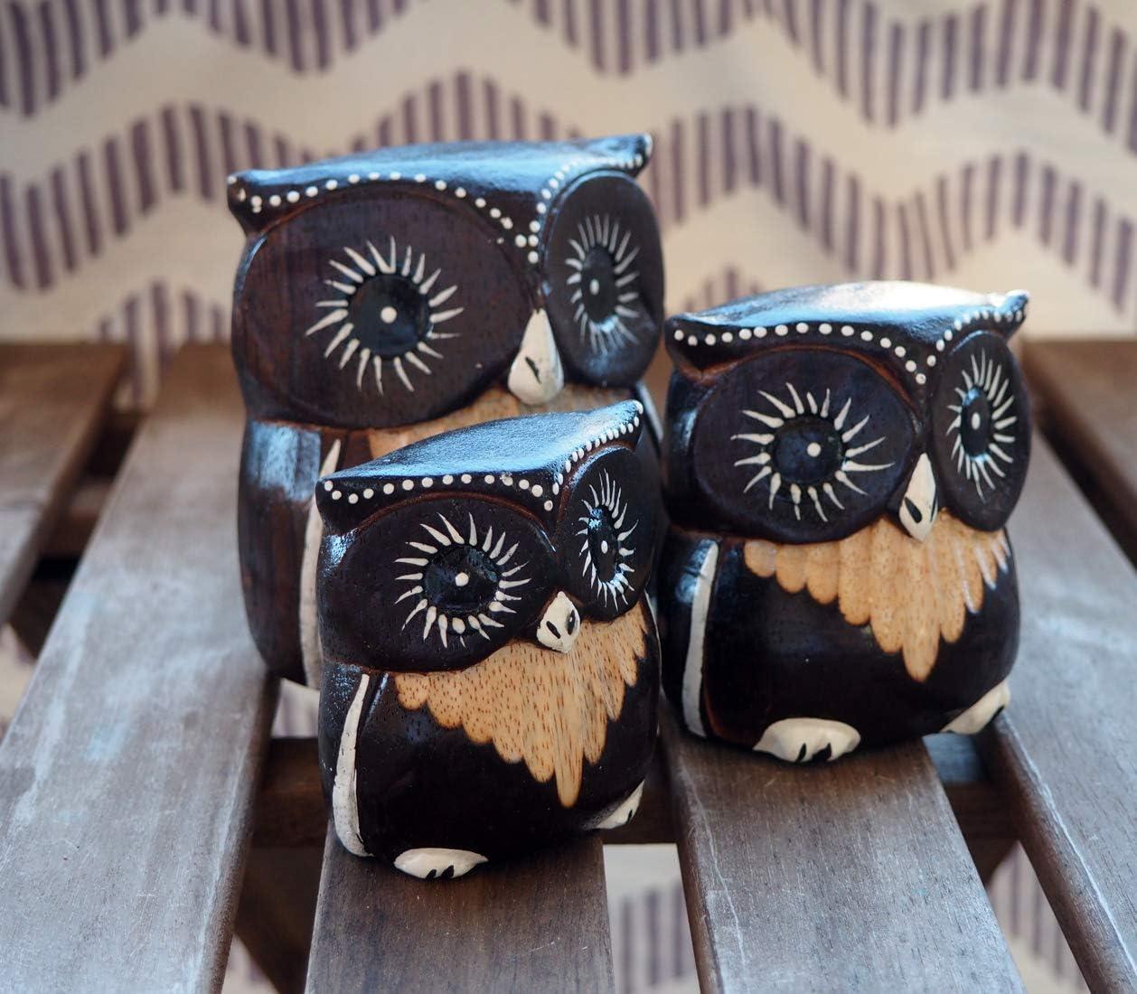 GOS Best Supplies Set de 3 Buhos Decorativos Adornos Hechos en Madera Mesa Sobremesa| Hogar Sal/ón Cocina Jardin