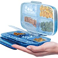Tobanda Portable Pill Case, 8 Compartments Airtight Pill Container Travel Pill Organizer Daily Pill Box, Moisture Proof Small Pill Case to Hold Vitamins, Cod Liver Oil, Supplements and Medication