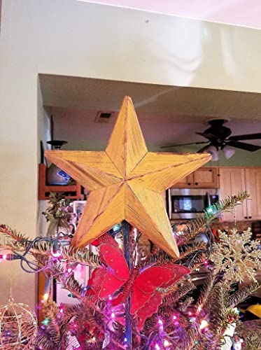 star christmas wood tree topper free ship holiday ornament rustic beveled wood 12 inch gold - 12 Inch Christmas Tree