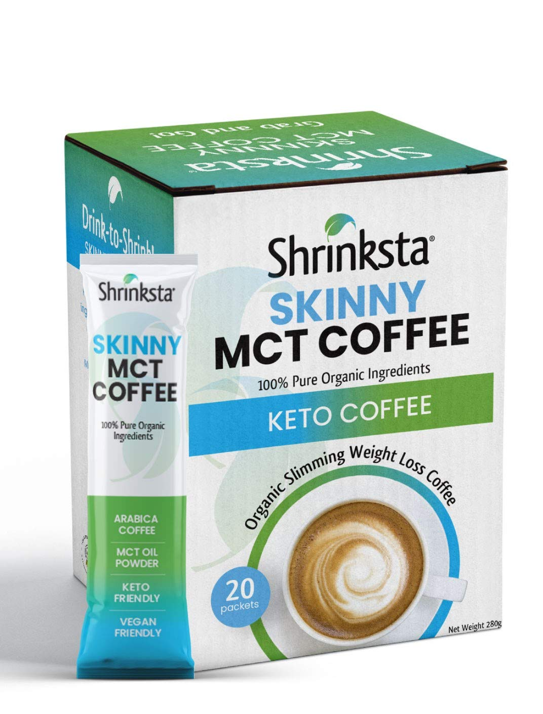 Shrinksta Keto Coffee with MCT Oil, Weight Loss Coffee, Instant Coffee Mix, Perfect for on the Go, Energy, Focus & Fat Burning | 20 Coffee Packets.