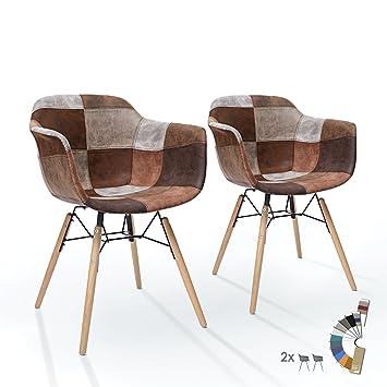 [ Lot de 2 Chaises ] Chaise Salle à Manger / Salon - PU Cuir Patchwork -  Marron Gris Taupe - Retro | Mid Century