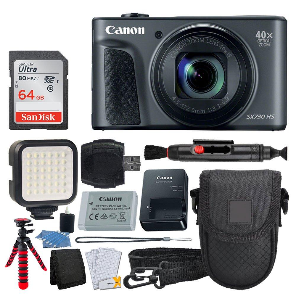 Canon PowerShot sx730 HSデジタルカメラ(ブラック) + 64 GBメモリカード+ Point & Shoot Case +柔軟な三脚+ LEDビデオライト+ USBカードリーダー+レンズクリーニングペン+クリーニングキット+フルアクセサリーバンドル   B072PC7DLL