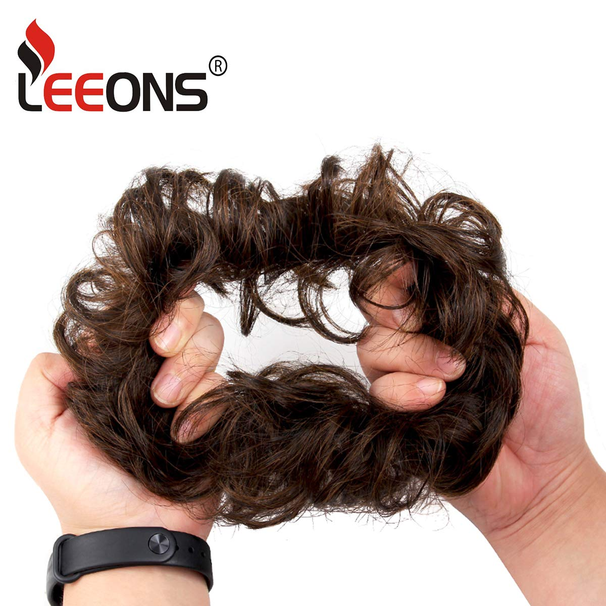 Leeons Wavy Donut Updo Ribbon Ponytail Hair Extensions Curly Messy Bun Dish Scrunchy Scrunchie Hairpiece Wave Bun Scrunchie Synthetic Hair Bun (#2) by LEEONS (Image #5)