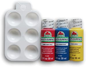 Multi-Surface Primary Colors Acrylic Paint Set with Mini Palette - Red, Blue, Yellow