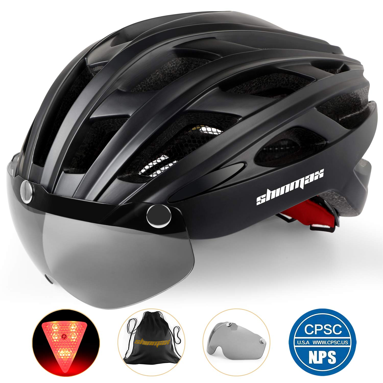 Bike Helmet, Shinmax Cycling Helmet CPSC Safety Standard Adjustable Bicycle/Climbing Helmet with Magnetic Visor&LED Safety Back Light for Adult Youth Men/Women Mountain&Road by Basecamp