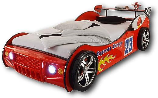 ENERGY Autobett mit LED-Beleuchtung 90 x 200 cm - Aufregendes Auto Kinderbett für kleine Rennfahrer in Rot - 105 x 60 x 225 cm (B/H/T) 1