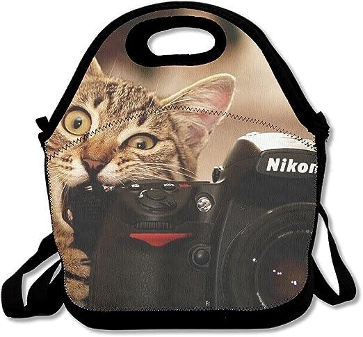 tydo almuerzo Bolsas Funny gatitos gatos Bite cámara bolsas de almacenamiento bolsas de Picnic almuerzo Bolsas para adolescentes adultos niños niños: Amazon.es: Hogar