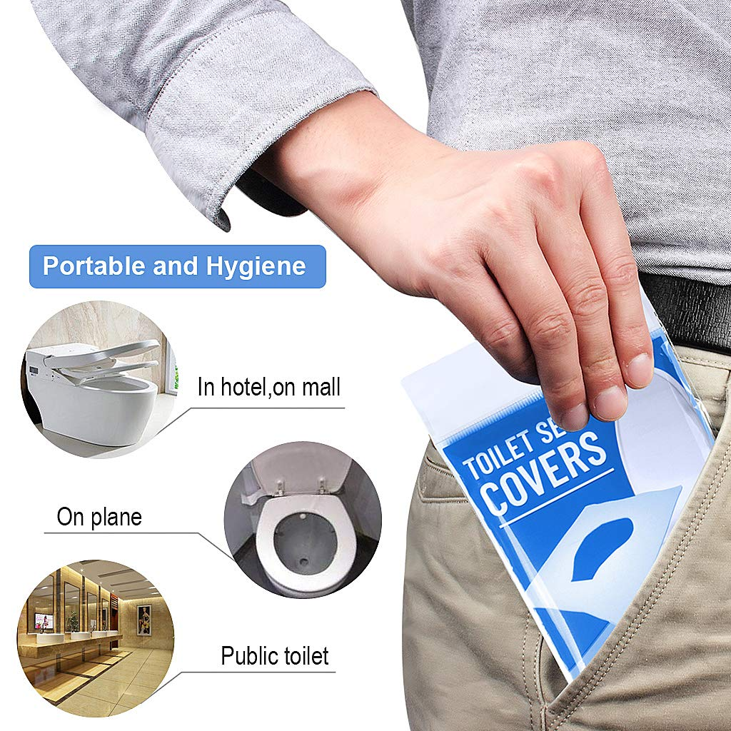 Portable Disposable Toilet Seat Covers 6 Packs Set of Total 60 Sheets Portable Paper Potty Seat Covers Flushable Toilet Seat Covers for Kids Toddlers and Adults Ideal for Travel Use