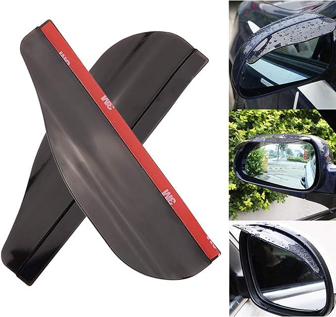 Pair Smoked Car Door Wing Mirror Shield Rain Visor Board Guard Sun Shade Cover