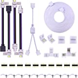 SUPERNIGHT 5PIN LED Strip Connector Kit 10mm 5050 RGBW Connector Kit Include 9.8FT Extension Cable, Strip to Strip Jumper, St