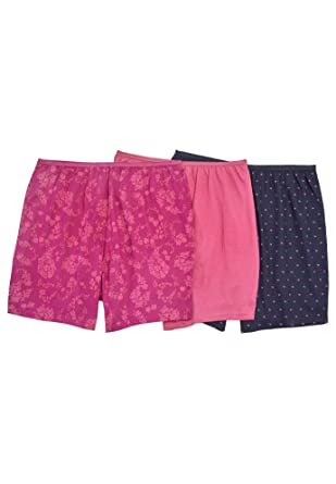 bfe9f4ff9124 Comfort Choice Women's Plus Size 3-Pack Cotton Boxer - Paisley Heart Pack,  ...