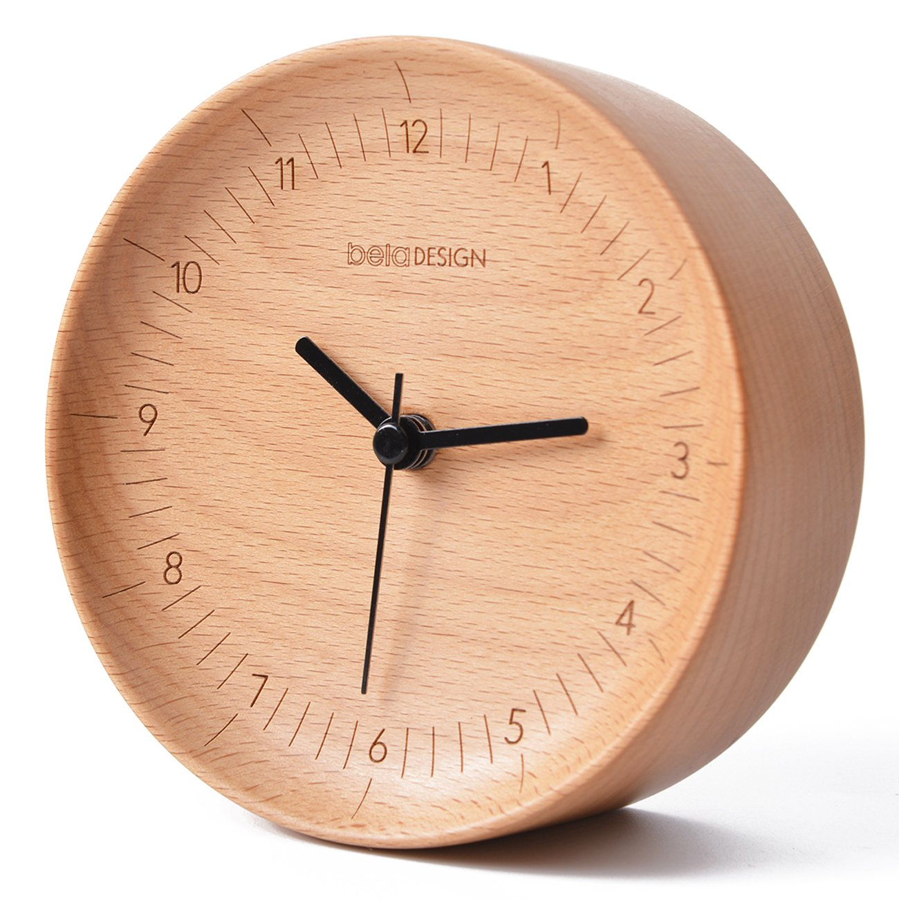 belaDESIGN Alarm clock with handmade-Beech Wood Round Silent Table Alarm Clock