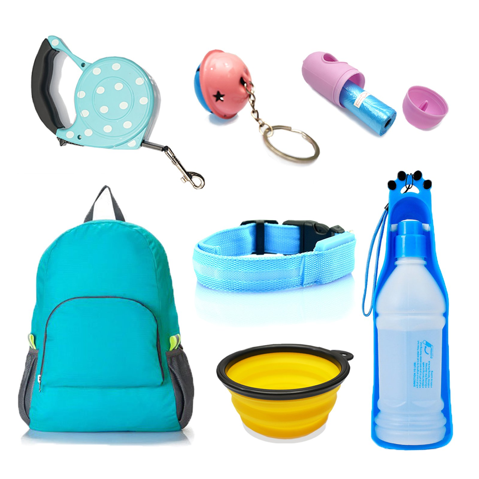 Pet Water Bottles & Collapsible Travel Bowls, Dog Cat Retractable Leash & Travel Backpack, LED Safety Dog Collar & Poop Bag, Pet Outdoor Kits
