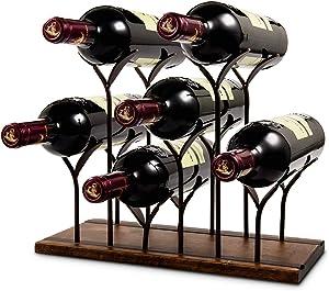 LESES Countertop Wine Holder Vertical Wine Rack Tabletop Wood Bottle Holder for Wine of 6 Bottle, Wine Shelf Rack for Home Decor & Kitchen Storage Rack, Bar, Cellar, Cabinet, Pantry