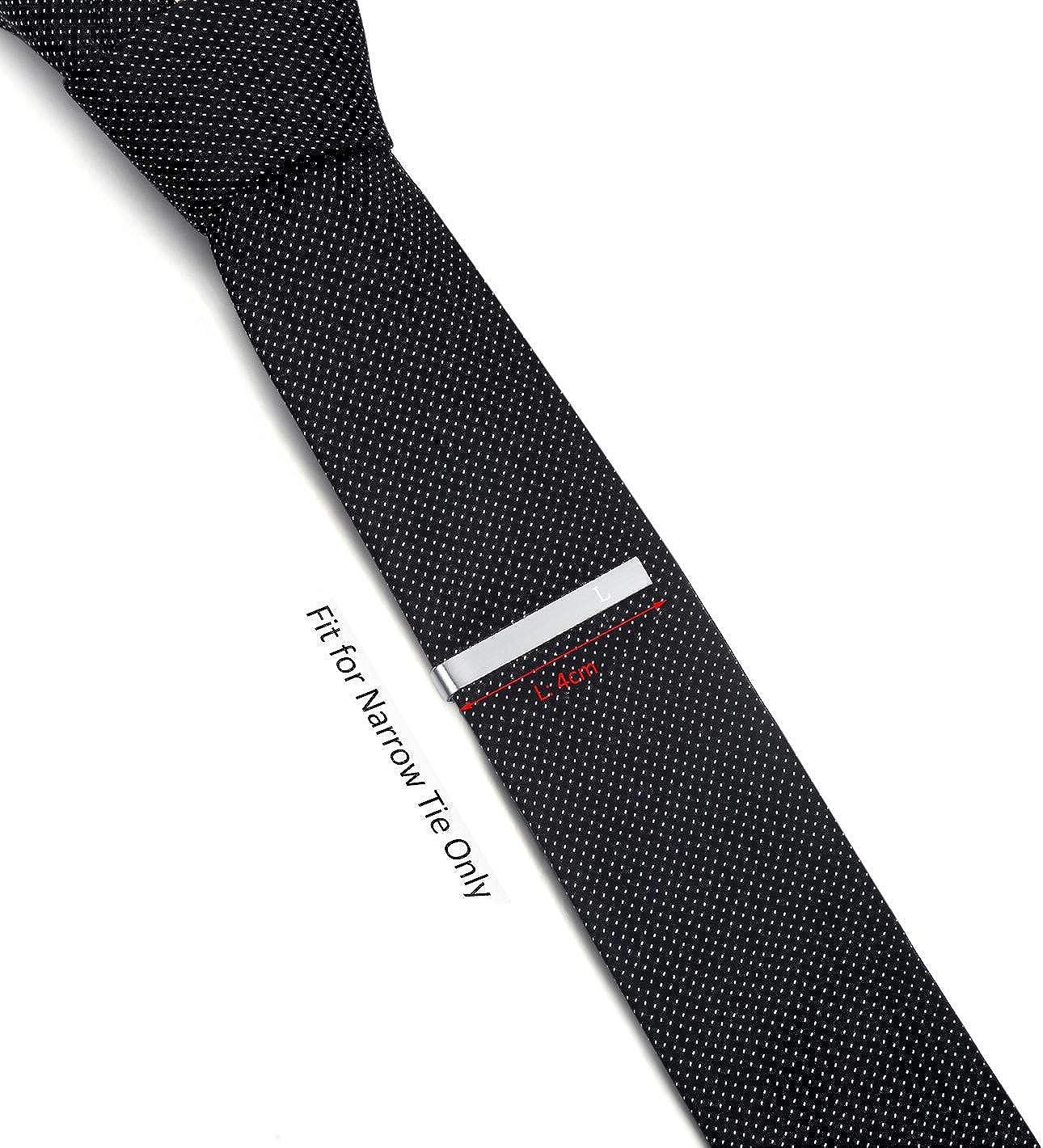 per la Cravatta Stretta Skinny Acciaio Regalo di Nozze di Business,4cm,Argento Spazzolato HONEY BEAR Lettera con iniziali Alfabeto Fermacravatta per Uomo
