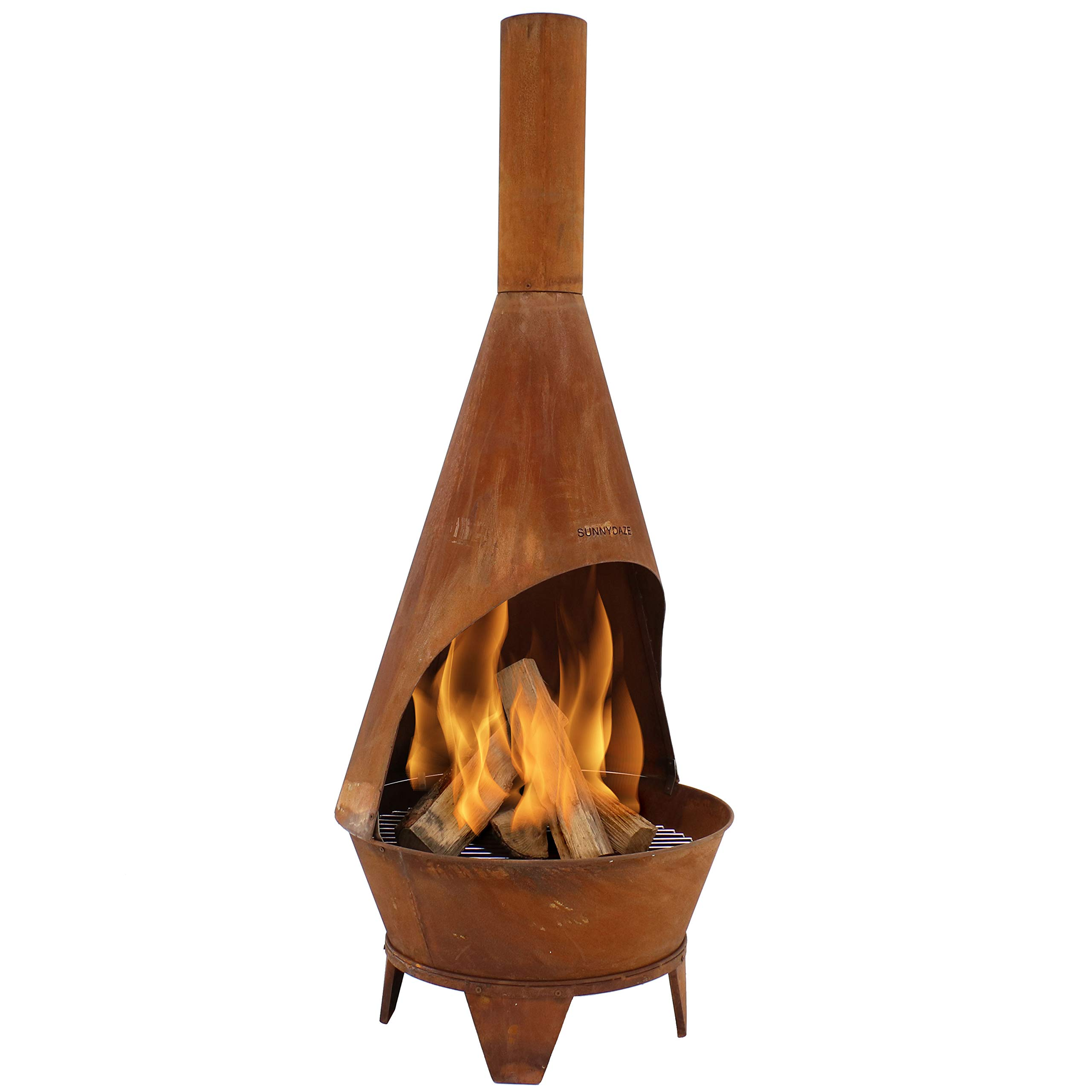 Sunnydaze Chiminea Fire Pit - Large Outdoor Patio Wood-Burning Mexican Style Backyard Fireplace Stove - Oxidized Rustic Cold-Rolled Steel - 6 Foot Tall by Sunnydaze Decor