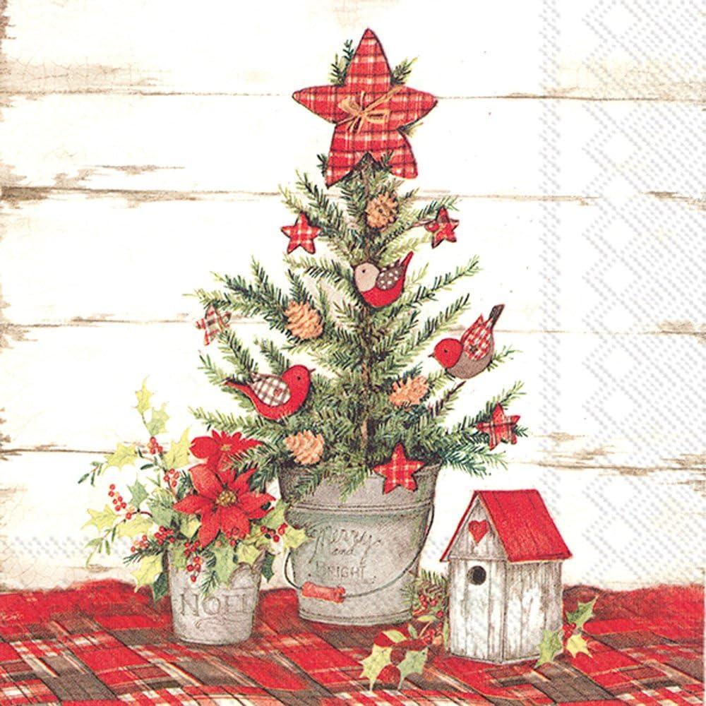 Boston International Holiday Cocktail Napkins, Cottage Christmas Tree
