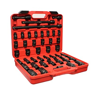 ABN 1/2in Drive Metric Master Deep & Shallow Impact Socket 43-Piece Set 9mm to 30mm with Extensions & Swivel Joint