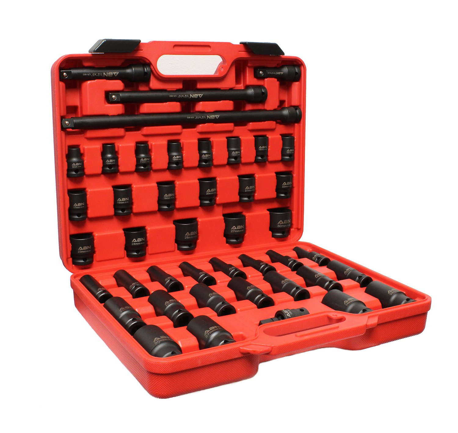 ABN 1/2in Drive Metric Master Deep & Shallow Impact Socket 43-Piece Set 9mm to 30mm with Extensions & Swivel Joint by ABN