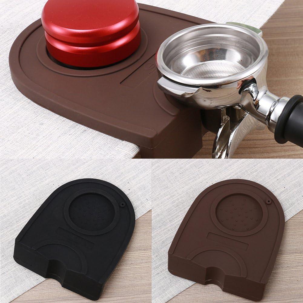 Alfombrilla de café antideslizante manual Barista Café Espresso Latte Art Pen Tamper Holder Silicone Pad Mat Kitchen Accessories, negro, 15.8*12.7cm