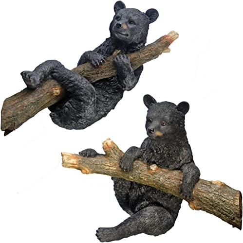 Design Toscano KY969868 Up a Tree Hanging Black Bear Cub Statues: Climbing and Hanging Cub Set,full color