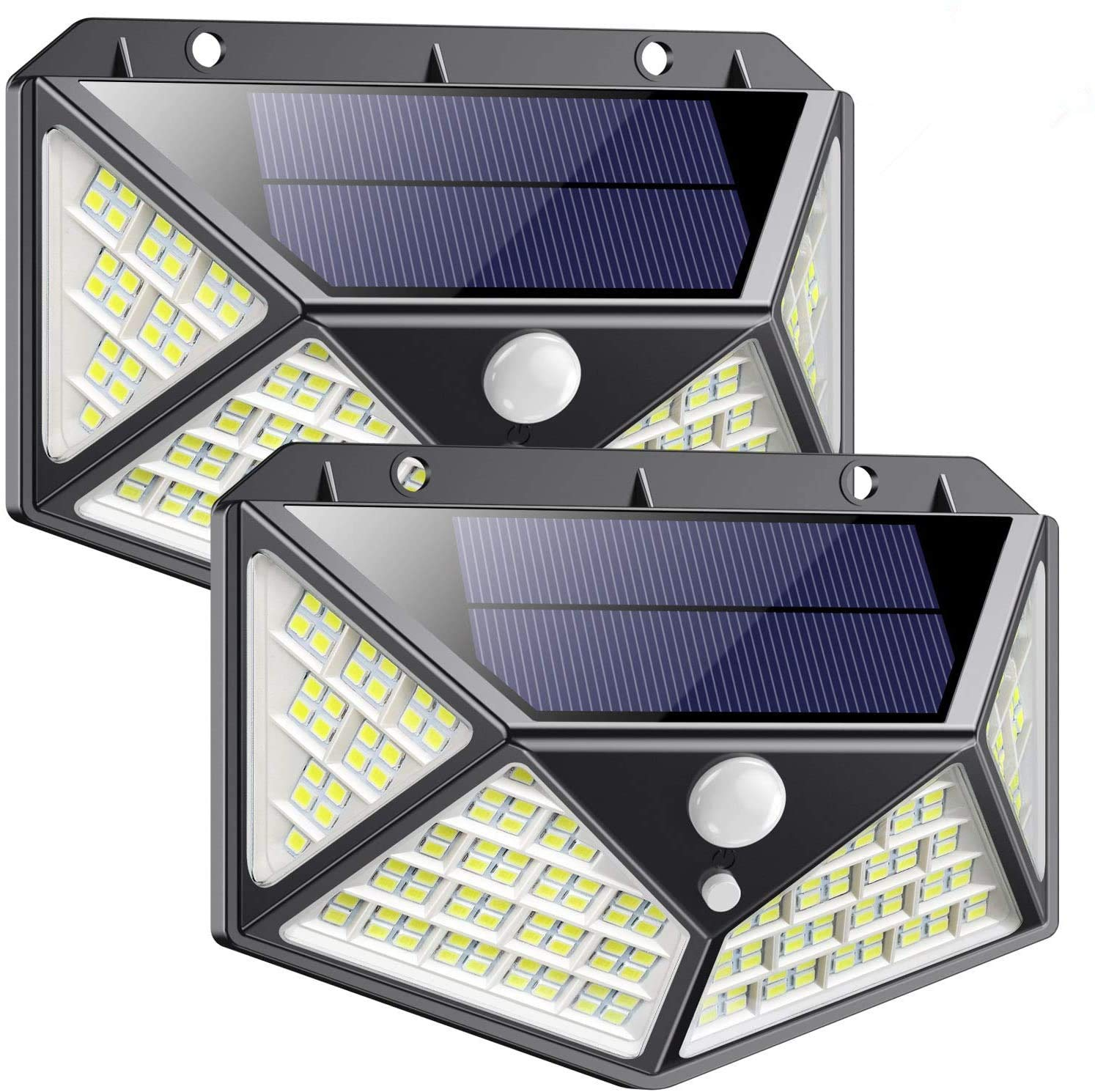 Solar Lights Outdoor 162 LED, QTshinee【2020 Newest Version】Solar Powered Lights 270º Wide Angle Lighting with Motion Sensor LED Waterproof Solar Security Lights Solar Wall Lights with 3 Modes[2 Pack]
