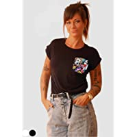 Camiseta con calaveras mexicanas para mujer cosida a mano