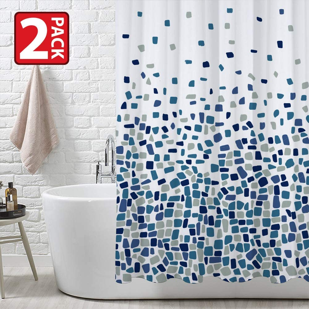 ANSIO Shower Curtain Mould /& Mildew Resistant 180 x 180 cm Mosaic Blue and Mosaic Red 71 x 71 Inch Mosaic Red, 180 x 180 cm - 2 Pack | 100/% Polyester