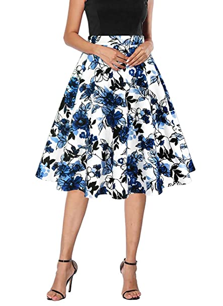 Yanmei Women's 50s Vintage Floral Skirt High Waisted A Line Casual Midi Skirts by Yanmei